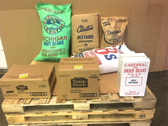 sugar and dry goods on pallet